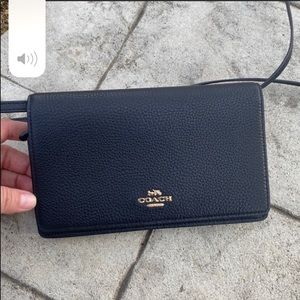 Coach wallet crossbody bag purse black new